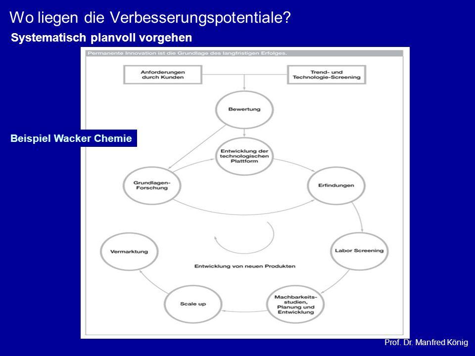 Prof. Dr. Manfred König Wo liegen die Verbesserungspotentiale? Beispiel Wacker Chemie Systematisch planvoll vorgehen