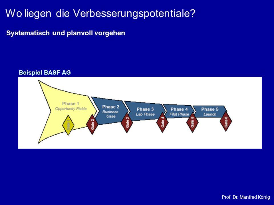 Prof. Dr. Manfred König Wo liegen die Verbesserungspotentiale? Beispiel BASF AG Systematisch und planvoll vorgehen
