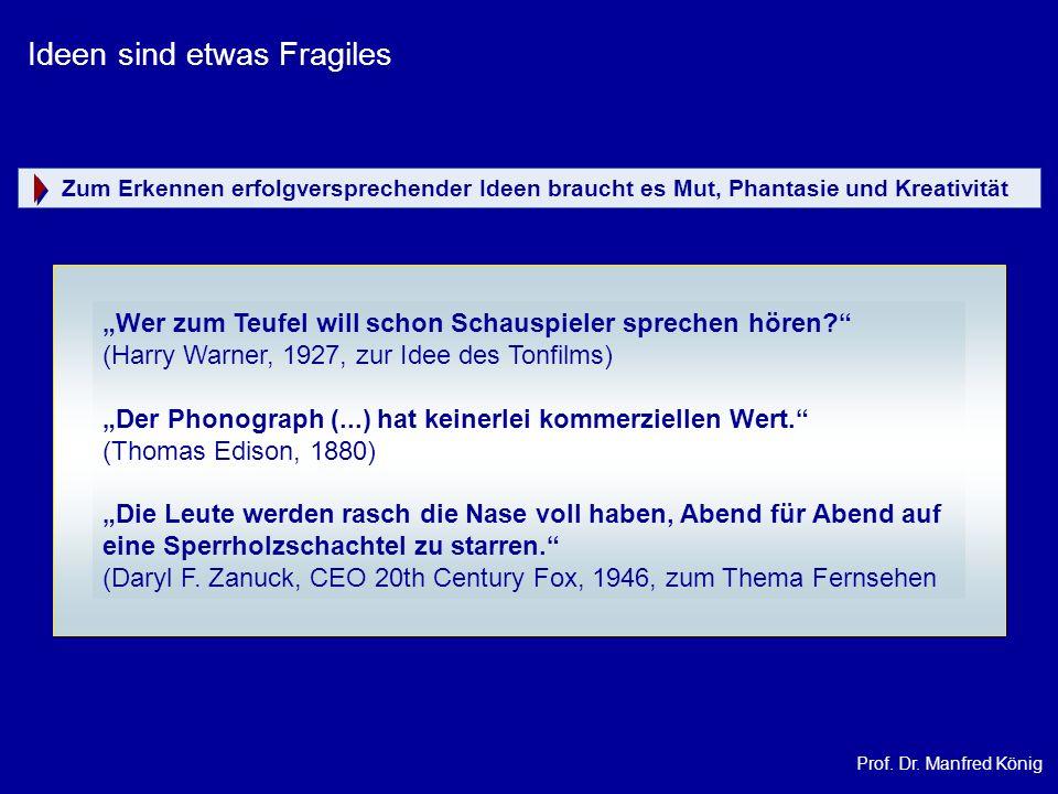 Prof. Dr. Manfred König Ideen sind etwas Fragiles Wer zum Teufel will schon Schauspieler sprechen hören? (Harry Warner, 1927, zur Idee des Tonfilms) D