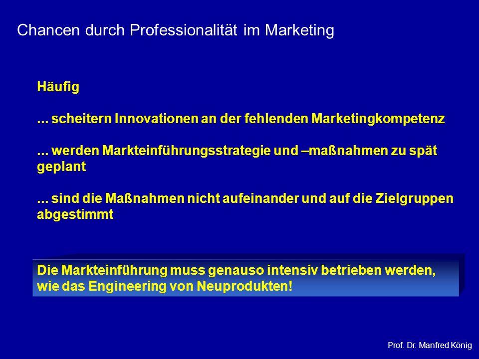 Prof. Dr. Manfred König Chancen durch Professionalität im Marketing Die Markteinführung muss genauso intensiv betrieben werden, wie das Engineering vo