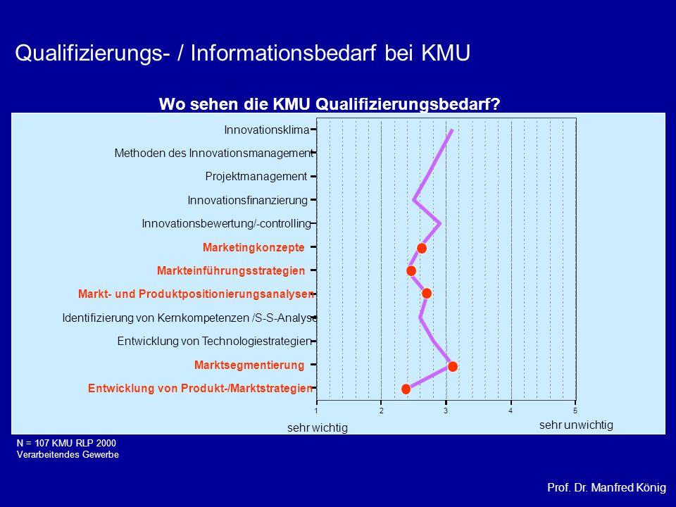 Prof. Dr. Manfred König Qualifizierungs- / Informationsbedarf bei KMU sehr wichtig sehr unwichtig 12345 Entwicklung von Produkt-/Marktstrategien Markt