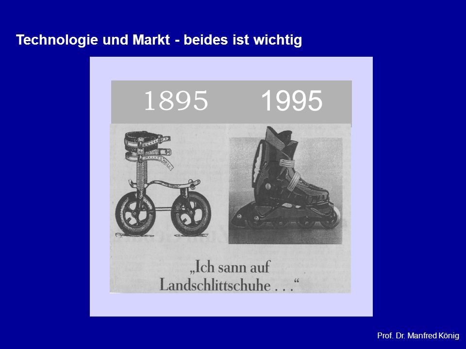 Prof. Dr. Manfred König 1895 1995 Technologie und Markt - beides ist wichtig
