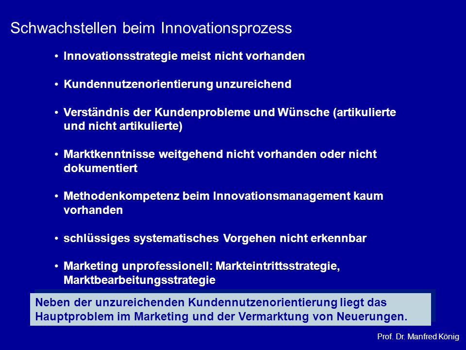 Prof. Dr. Manfred König Innovationsstrategie meist nicht vorhanden Kundennutzenorientierung unzureichend Verständnis der Kundenprobleme und Wünsche (a