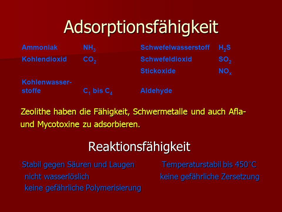 Adsorptionsfähigkeit Reaktionsfähigkeit Stabil gegen Säuren und Laugen Temperaturstabil bis 450°C nicht wasserlöslich keine gefährliche Zersetzung nic