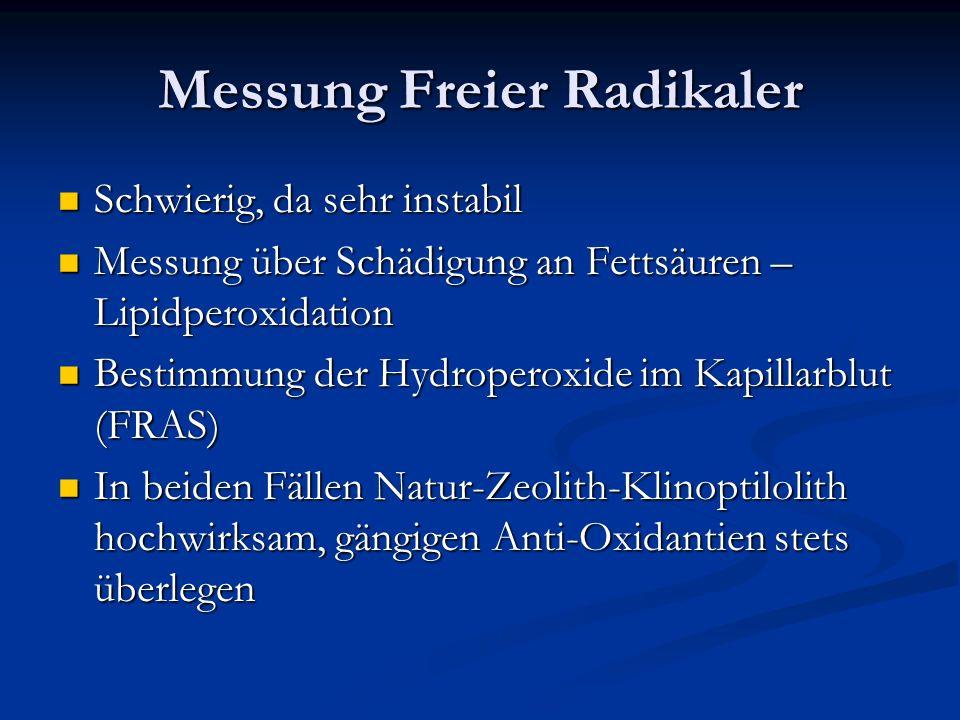 Messung Freier Radikaler Schwierig, da sehr instabil Schwierig, da sehr instabil Messung über Schädigung an Fettsäuren – Lipidperoxidation Messung übe