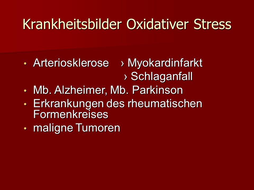 Krankheitsbilder Oxidativer Stress Arteriosklerose Myokardinfarkt Arteriosklerose Myokardinfarkt Schlaganfall Schlaganfall Mb. Alzheimer, Mb. Parkinso
