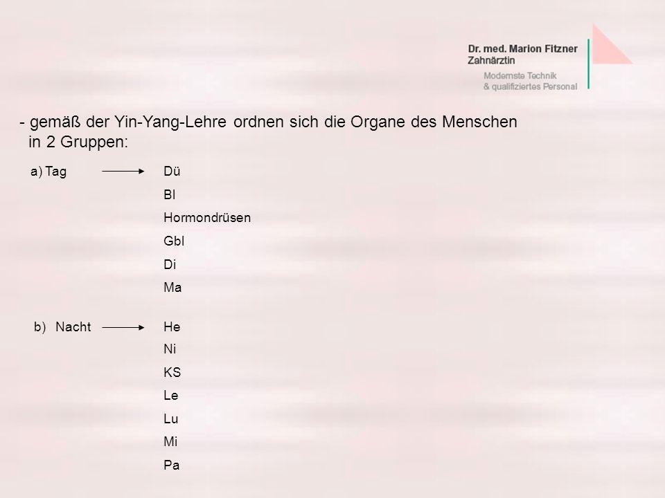 b)NachtHe Ni KS Le Lu Mi Pa - gemäß der Yin-Yang-Lehre ordnen sich die Organe des Menschen in 2 Gruppen: a) TagDü Bl Hormondrüsen Gbl Di Ma