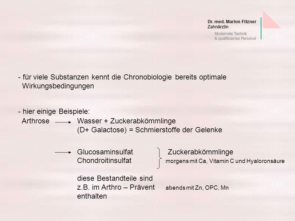 - hier einige Beispiele: ArthroseWasser + Zuckerabkömmlinge (D+ Galactose) = Schmierstoffe der Gelenke Glucosaminsulfat Zuckerabkömmlinge Chondroitins