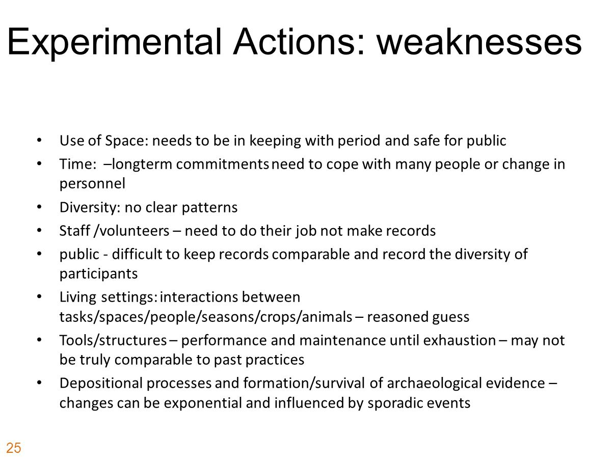 Experimental Actions: weaknesses Use of Space: needs to be in keeping with period and safe for public Time: –longterm commitments need to cope with ma