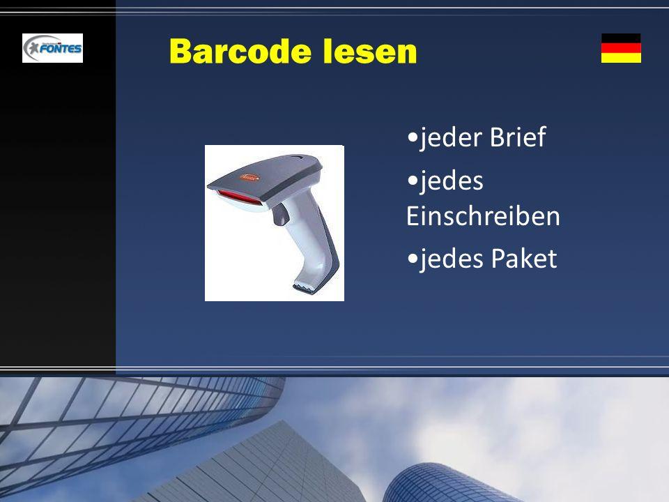 Barcode lesen jeder Brief jedes Einschreiben jedes Paket