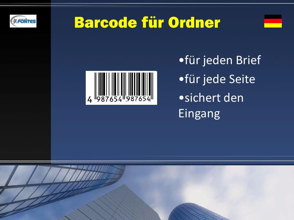Barcode für Ordner für jeden Brief für jede Seite sichert den Eingang