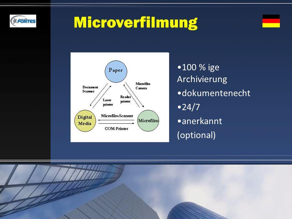 Microverfilmung 100 % ige Archivierung dokumentenecht 24/7 anerkannt (optional)