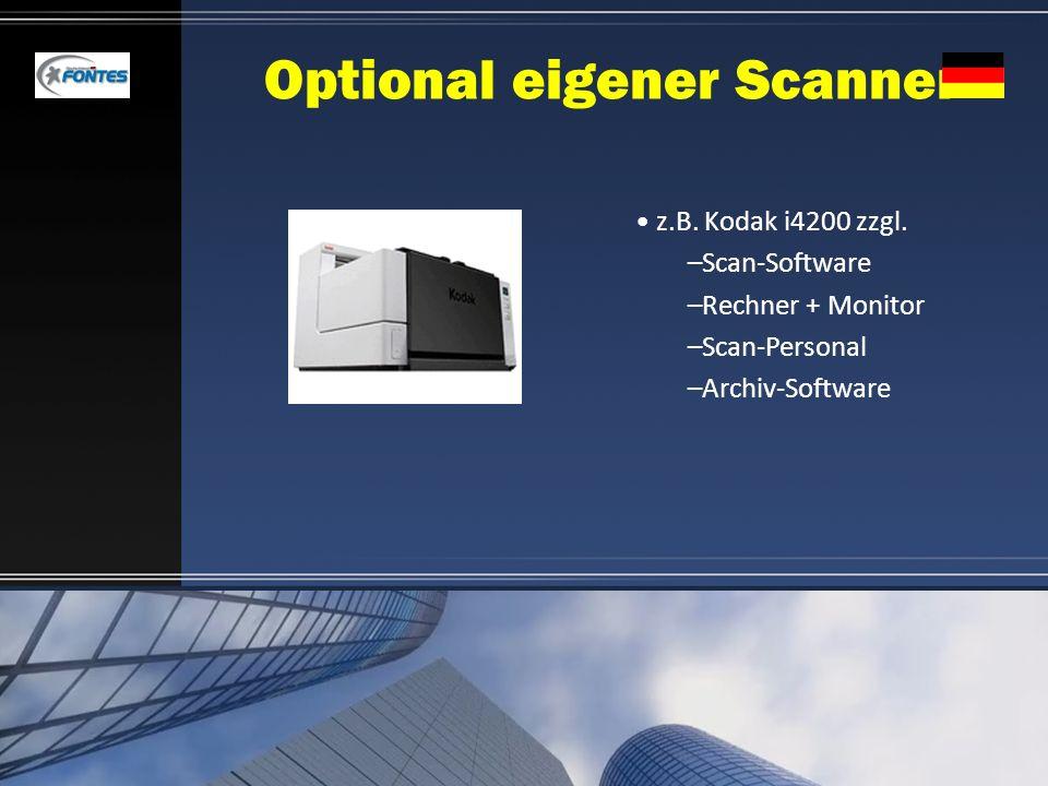 Optional eigener Scanner z.B. Kodak i4200 zzgl. –Scan-Software –Rechner + Monitor –Scan-Personal –Archiv-Software