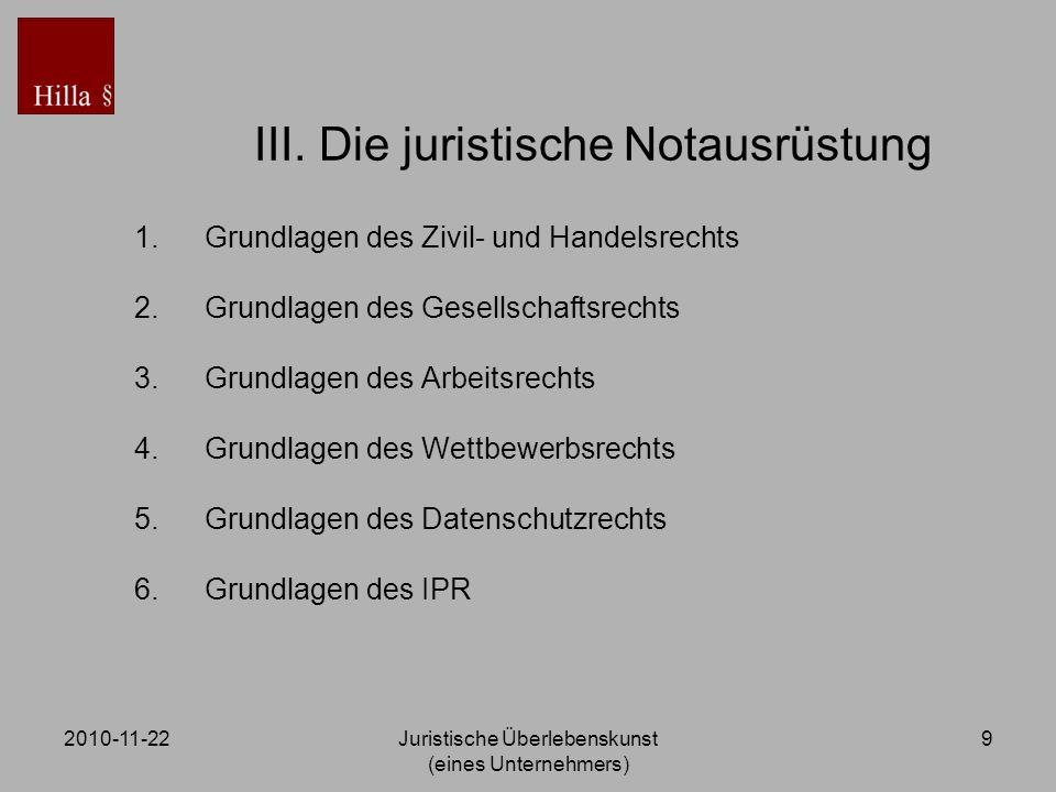 2010-11-22Juristische Überlebenskunst (eines Unternehmers) 9 III. Die juristische Notausrüstung 1.Grundlagen des Zivil- und Handelsrechts 2.Grundlagen