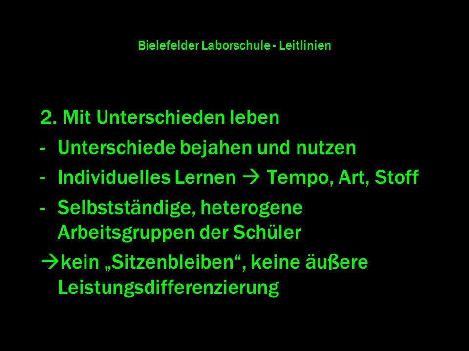 Bielefelder Laborschule - Leitlinien 2. Mit Unterschieden leben -Unterschiede bejahen und nutzen -Individuelles Lernen Tempo, Art, Stoff -Selbstständi