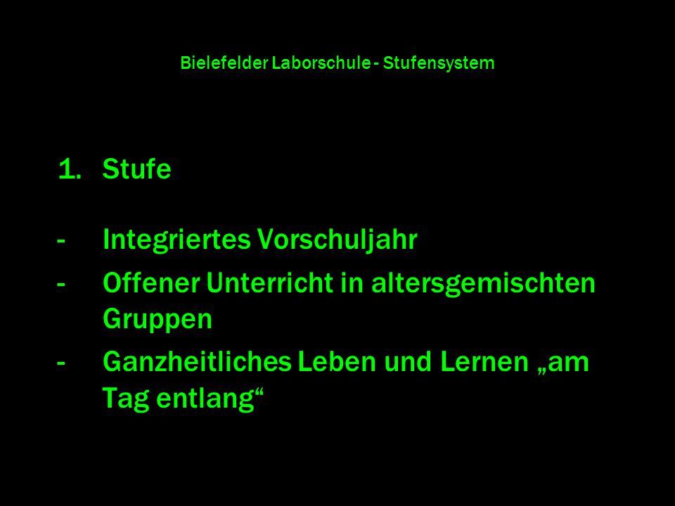 Bielefelder Laborschule - Stufensystem 1.Stufe -Integriertes Vorschuljahr -Offener Unterricht in altersgemischten Gruppen -Ganzheitliches Leben und Le