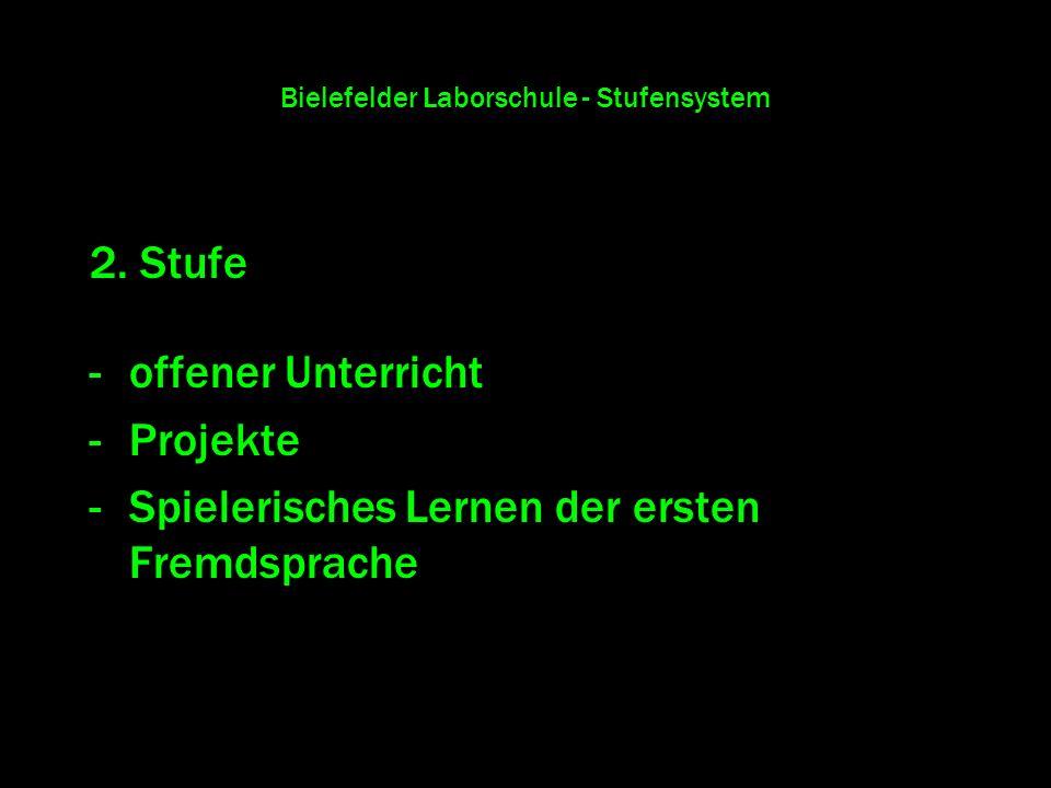 Bielefelder Laborschule - Stufensystem 2. Stufe -offener Unterricht -Projekte -Spielerisches Lernen der ersten Fremdsprache
