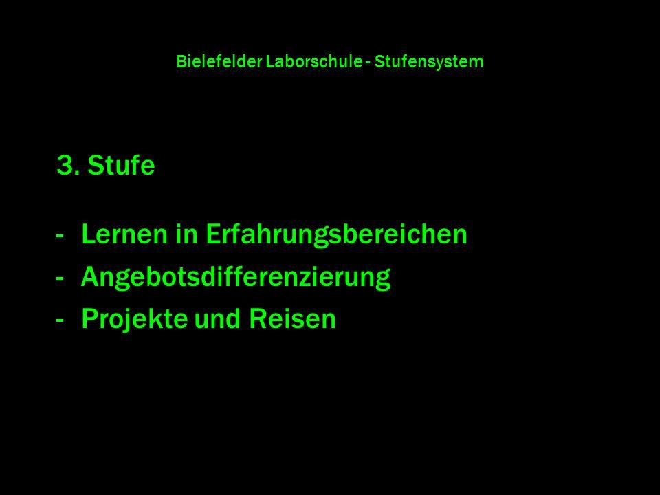 Bielefelder Laborschule - Stufensystem 3. Stufe -Lernen in Erfahrungsbereichen -Angebotsdifferenzierung -Projekte und Reisen