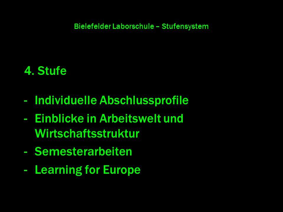 Bielefelder Laborschule – Stufensystem 4. Stufe -Individuelle Abschlussprofile -Einblicke in Arbeitswelt und Wirtschaftsstruktur -Semesterarbeiten -Le