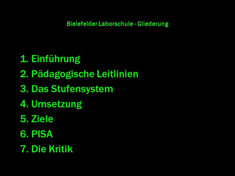 Bielefelder Laborschule - Gliederung 1. Einführung 2. Pädagogische Leitlinien 3. Das Stufensystem 4. Umsetzung 5. Ziele 6. PISA 7. Die Kritik
