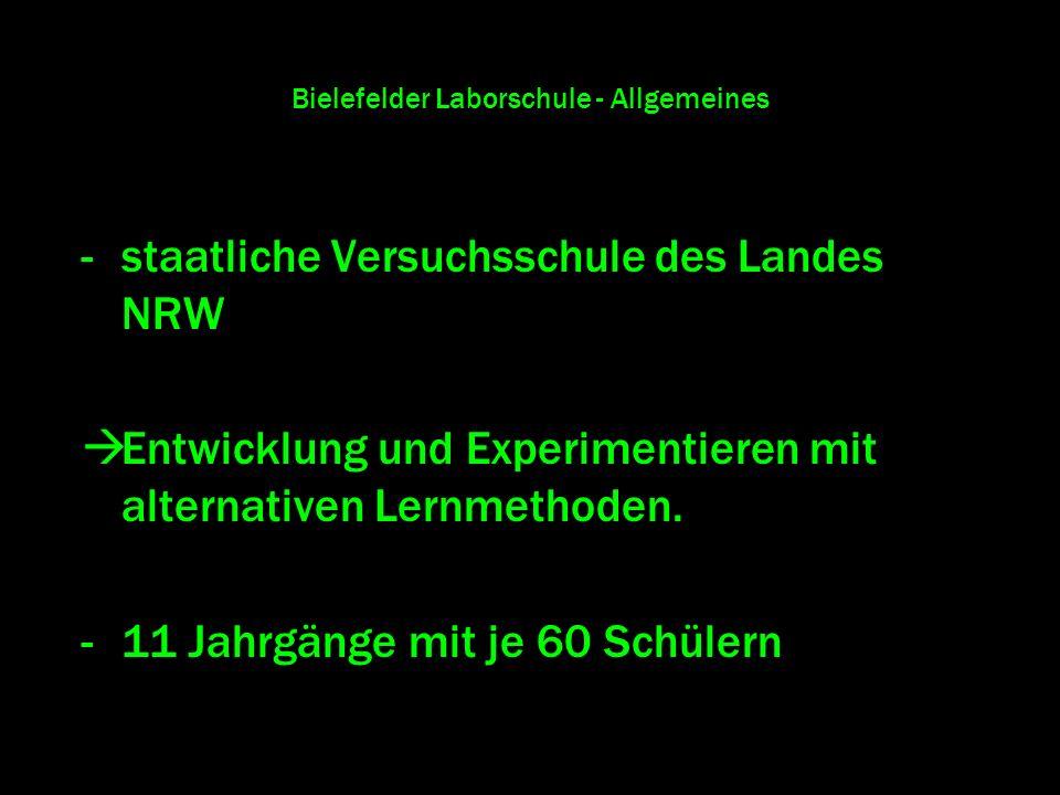 Bielefelder Laborschule - Allgemeines -staatliche Versuchsschule des Landes NRW Entwicklung und Experimentieren mit alternativen Lernmethoden. -11 Jah