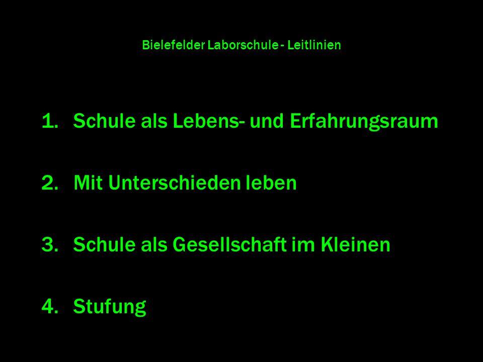 Bielefelder Laborschule - Leitlinien 1.Schule als Lebens- und Erfahrungsraum 2.Mit Unterschieden leben 3.Schule als Gesellschaft im Kleinen 4.Stufung