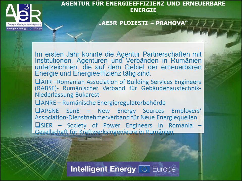 Im ersten Jahr konnte die Agentur Partnerschaften mit Institutionen, Agenturen und Verbänden in Rumänien unterzeichnen, die auf dem Gebiet der erneuer