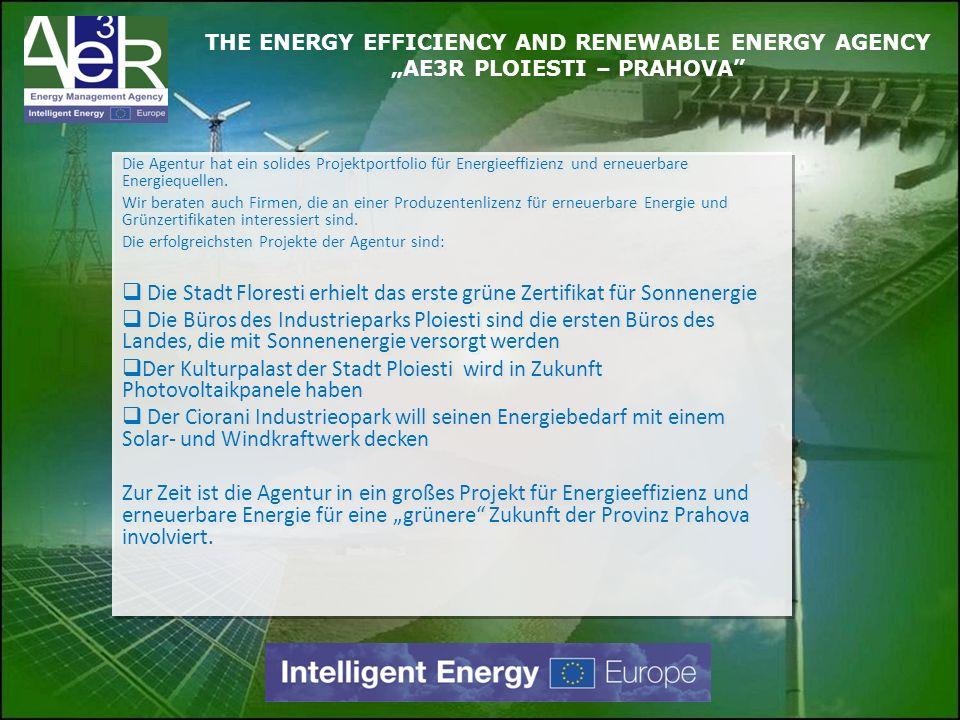 Die Agentur hat ein solides Projektportfolio für Energieeffizienz und erneuerbare Energiequellen. Wir beraten auch Firmen, die an einer Produzentenliz