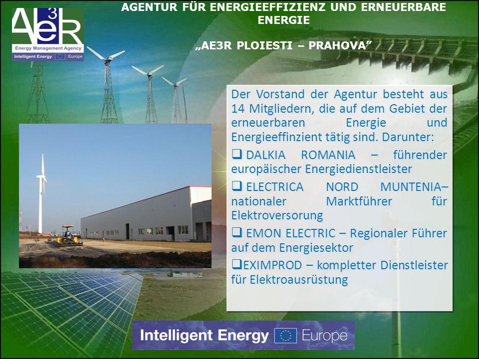 Der Vorstand der Agentur besteht aus 14 Mitgliedern, die auf dem Gebiet der erneuerbaren Energie und Energieeffinzient tätig sind. Darunter: DALKIA RO