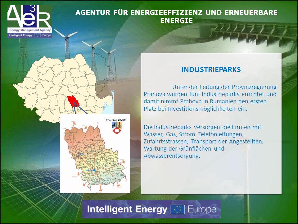 INDUSTRIEPARKS Unter der Leitung der Provinzregierung Prahova wurden fünf Industrieparks errichtet und damit nimmt Prahova in Rumänien den ersten Plat