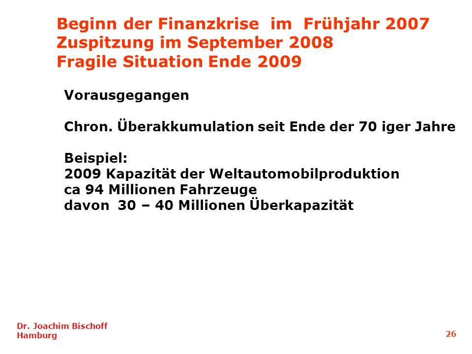 Beginn der Finanzkrise im Frühjahr 2007 Zuspitzung im September 2008 Fragile Situation Ende 2009 Dr. Joachim Bischoff Hamburg 26 Vorausgegangen Chron.