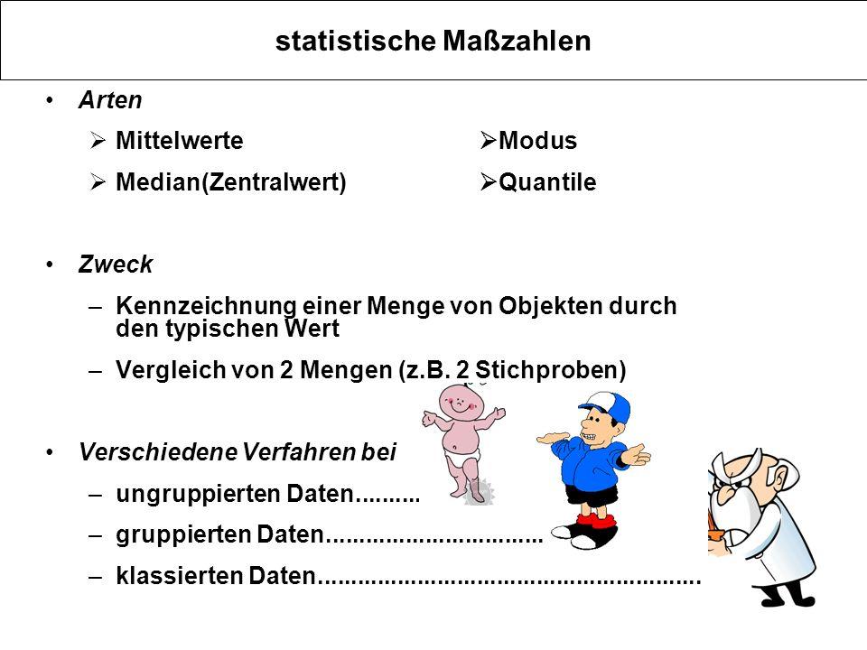 statistische Maßzahlen Arten Mittelwerte Modus Median(Zentralwert) Quantile Zweck –Kennzeichnung einer Menge von Objekten durch den typischen Wert –Ve