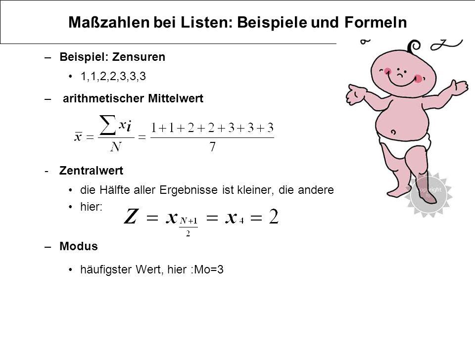 Maßzahlen bei Listen: Beispiele und Formeln –Beispiel: Zensuren 1,1,2,2,3,3,3 – arithmetischer Mittelwert -Zentralwert die Hälfte aller Ergebnisse ist