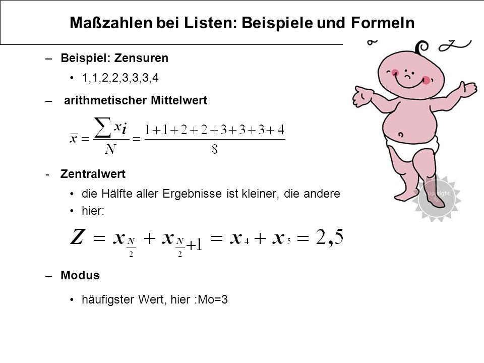 Maßzahlen bei Listen: Beispiele und Formeln –Beispiel: Zensuren 1,1,2,2,3,3,3,4 – arithmetischer Mittelwert -Zentralwert die Hälfte aller Ergebnisse i