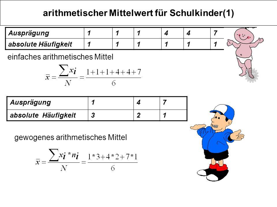 arithmetischer Mittelwert für Schulkinder(1) Ausprägung111447 absolute Häufigkeit111111 einfaches arithmetisches Mittel Ausprägung147 absolute Häufigk