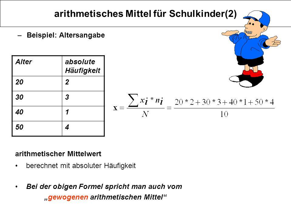arithmetisches Mittel für Schulkinder(2) –Beispiel: Altersangabe Alterabsolute Häufigkeit 202 303 401 504 arithmetischer Mittelwert berechnet mit abso