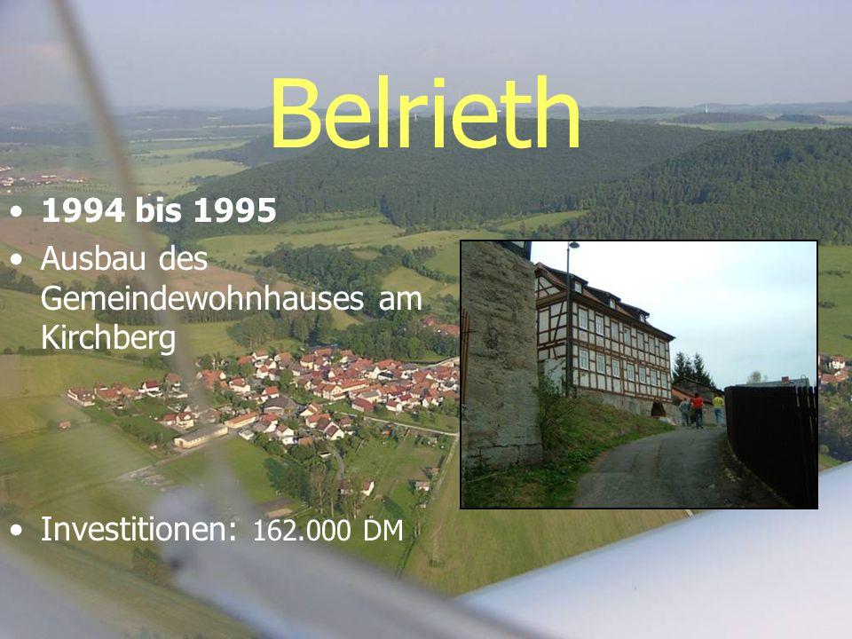 Belrieth 1994 bis 1995 Ausbau des Gemeindewohnhauses am Kirchberg Investitionen: 162.000 DM
