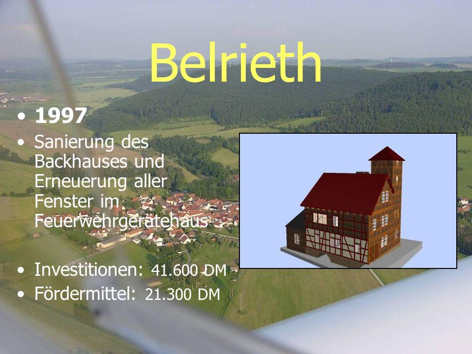 Belrieth 1997 Sanierung des Backhauses und Erneuerung aller Fenster im Feuerwehrgerätehaus Investitionen: 41.600 DM Fördermittel: 21.300 DM