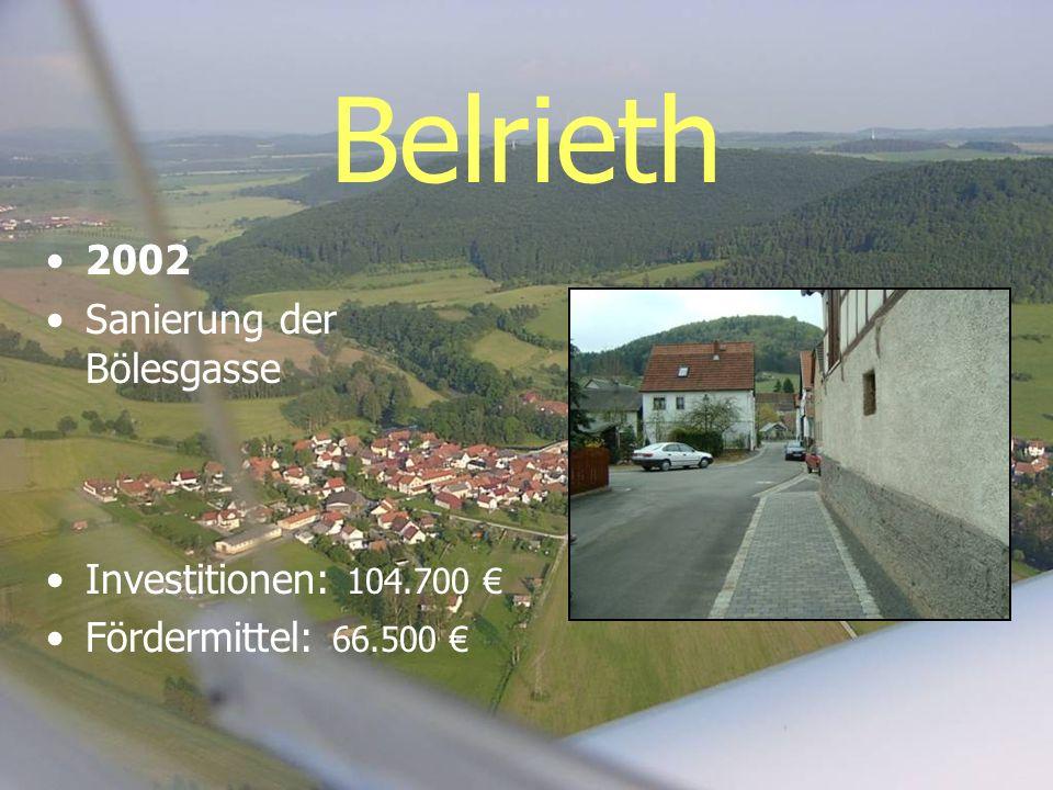 Belrieth 2002 Sanierung der Bölesgasse Investitionen: 104.700 Fördermittel: 66.500