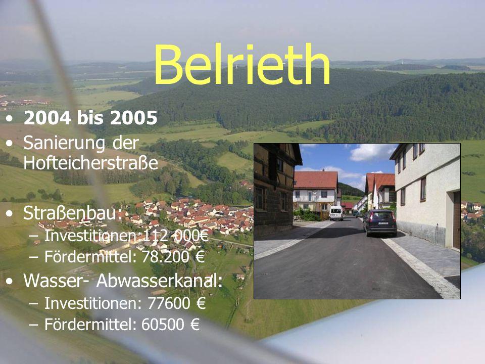 Belrieth 2004 bis 2005 Sanierung der Hofteicherstraße Straßenbau: –Investitionen:112 000 –Fördermittel: 78.200 Wasser- Abwasserkanal: –Investitionen: