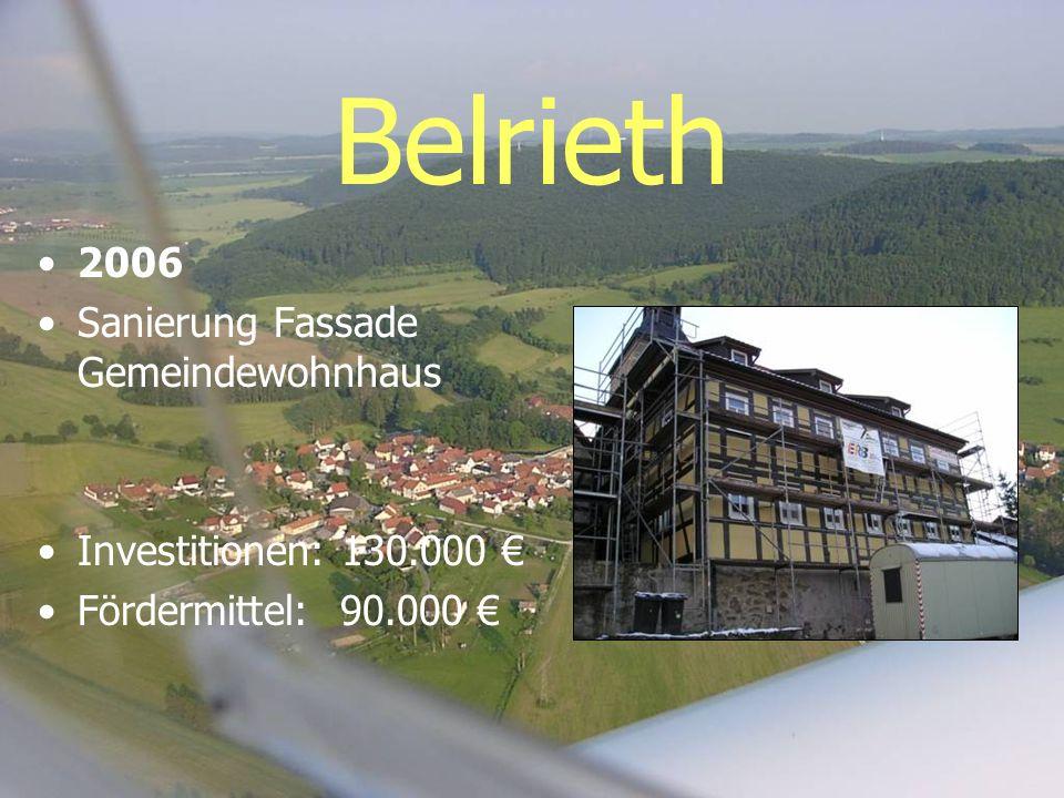 Belrieth 2006 Sanierung Fassade Gemeindewohnhaus Investitionen: 130.000 Fördermittel: 90.000
