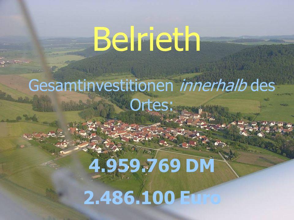 Belrieth Gesamtinvestitionen innerhalb des Ortes: 4.959.769 DM 2.486.100 Euro