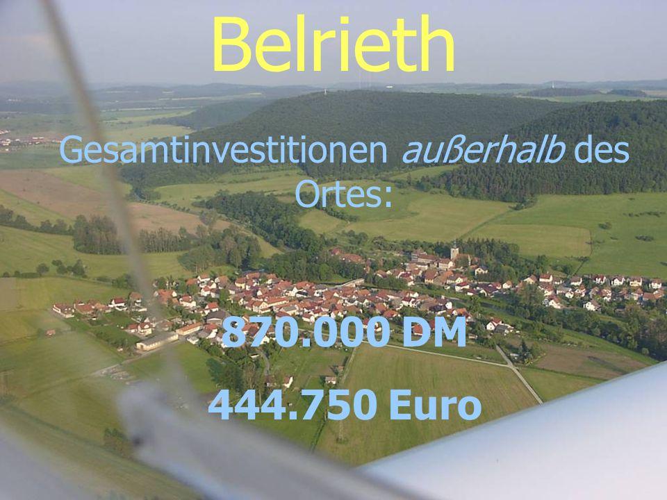 Belrieth Gesamtinvestitionen außerhalb des Ortes: 870.000 DM 444.750 Euro