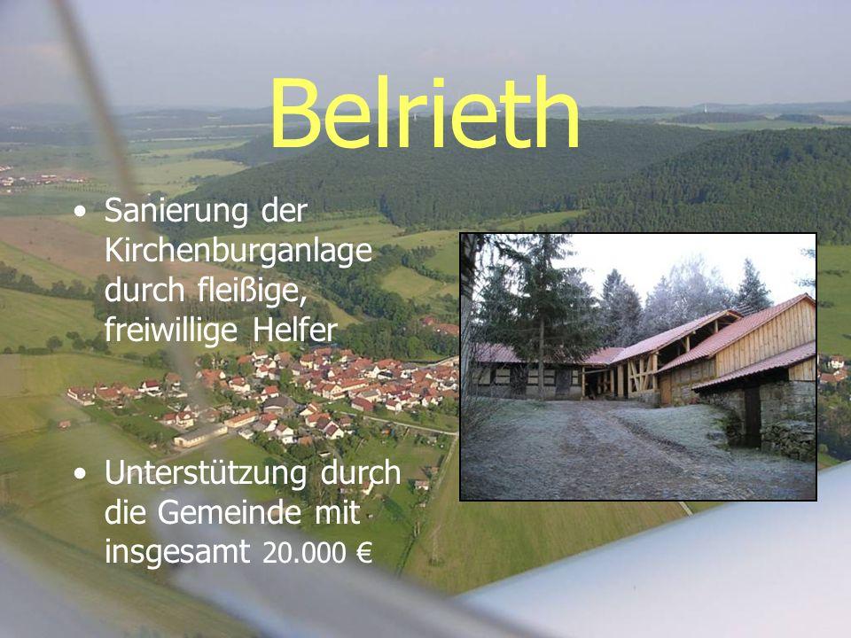 Belrieth Sanierung der Kirchenburganlage durch fleißige, freiwillige Helfer Unterstützung durch die Gemeinde mit insgesamt 20.000