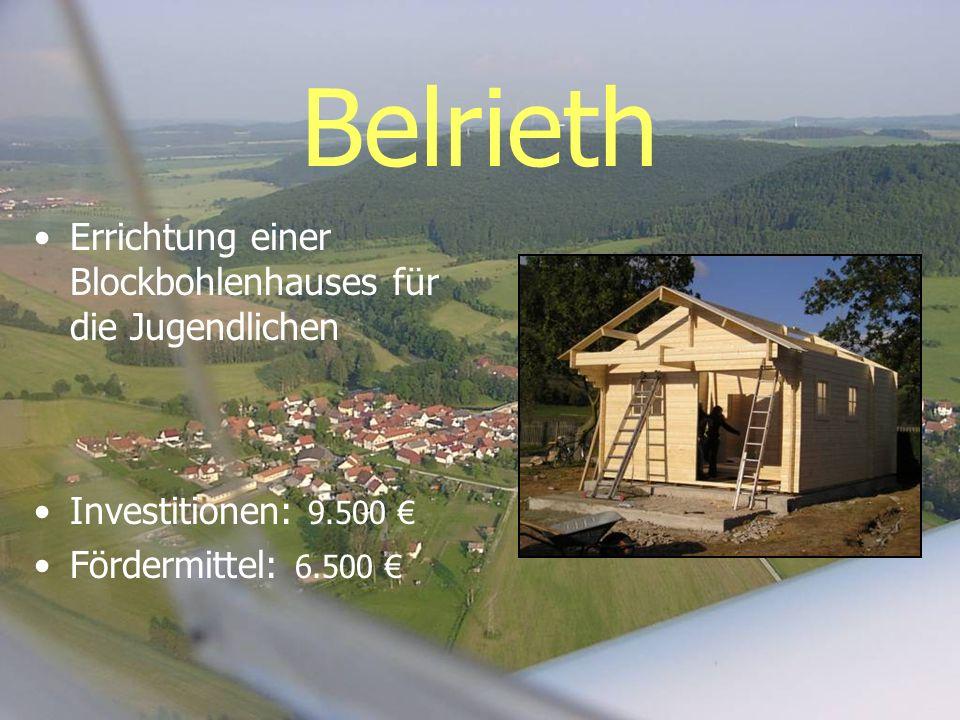 Belrieth Errichtung einer Blockbohlenhauses für die Jugendlichen Investitionen: 9.500 Fördermittel: 6.500