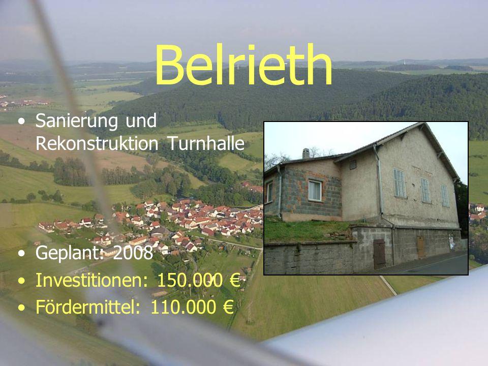 Belrieth Sanierung und Rekonstruktion Turnhalle Geplant: 2008 Investitionen: 150.000 Fördermittel: 110.000