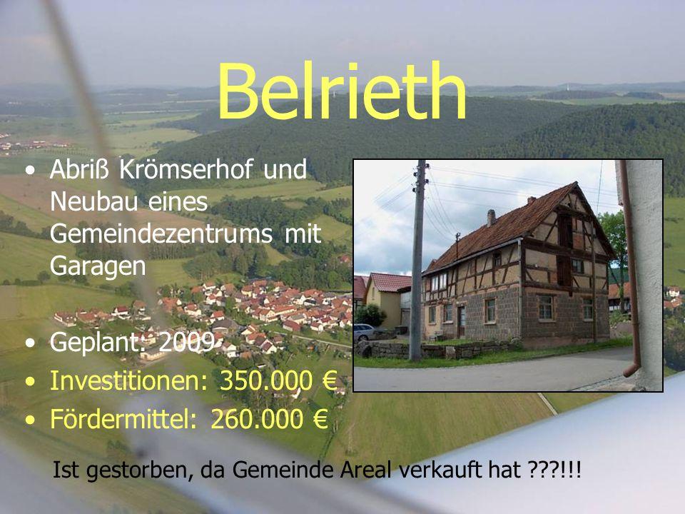 Belrieth Abriß Krömserhof und Neubau eines Gemeindezentrums mit Garagen Geplant: 2009 Investitionen: 350.000 Fördermittel: 260.000 Ist gestorben, da G