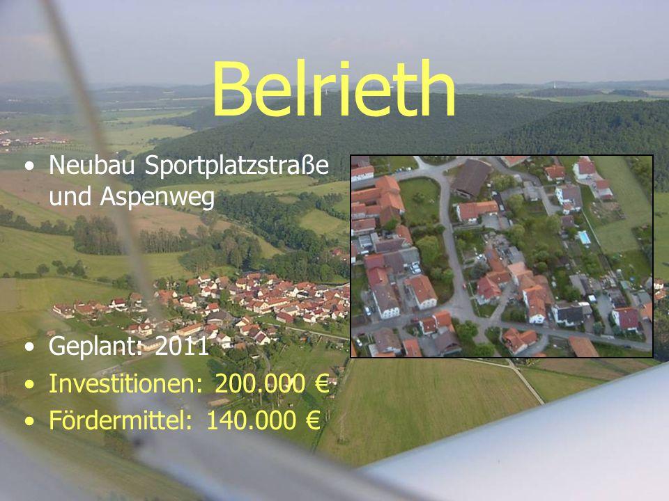 Belrieth Neubau Sportplatzstraße und Aspenweg Geplant: 2011 Investitionen: 200.000 Fördermittel: 140.000