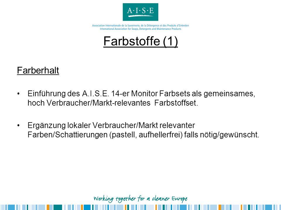 Farbstoffe (1) Farberhalt Einführung des A.I.S.E. 14-er Monitor Farbsets als gemeinsames, hoch Verbraucher/Markt-relevantes Farbstoffset. Ergänzung lo