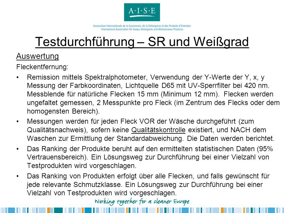 Testdurchführung – SR und Weißgrad Auswertung Fleckentfernung: Remission mittels Spektralphotometer, Verwendung der Y-Werte der Y, x, y Messung der Fa